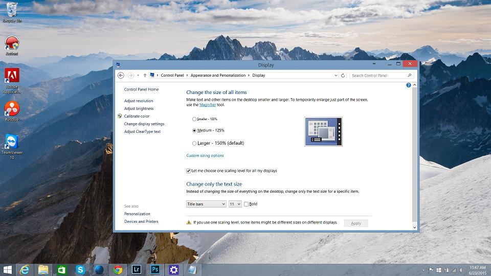 Tip : Gunakan 100% Scaling Di Laptop Untuk Paparan Resolusi Yang Lebih Tajam