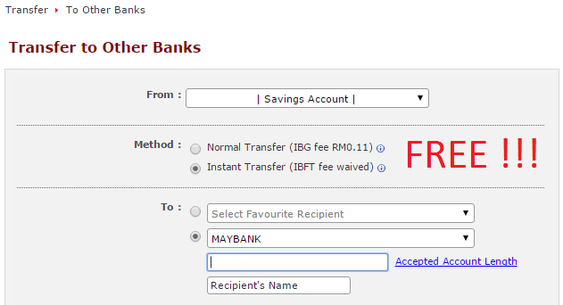 free instant interbank transfer