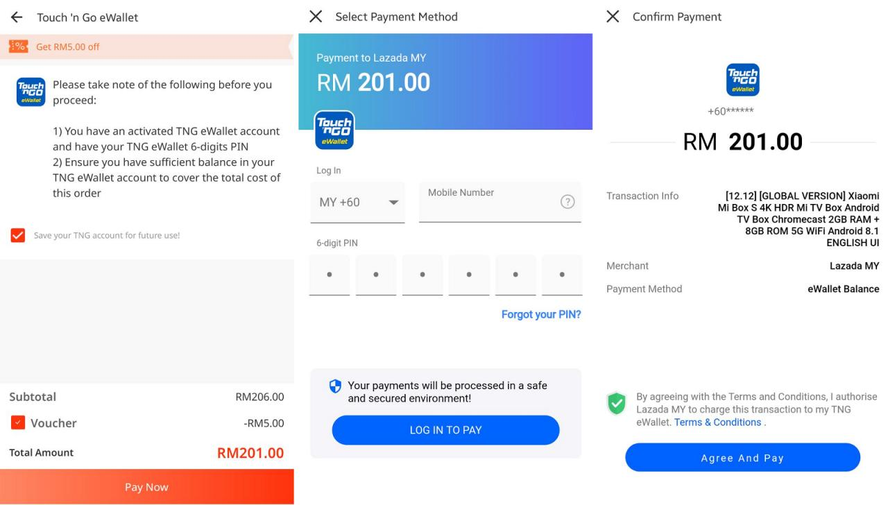 touch n go ewallet lazada payment
