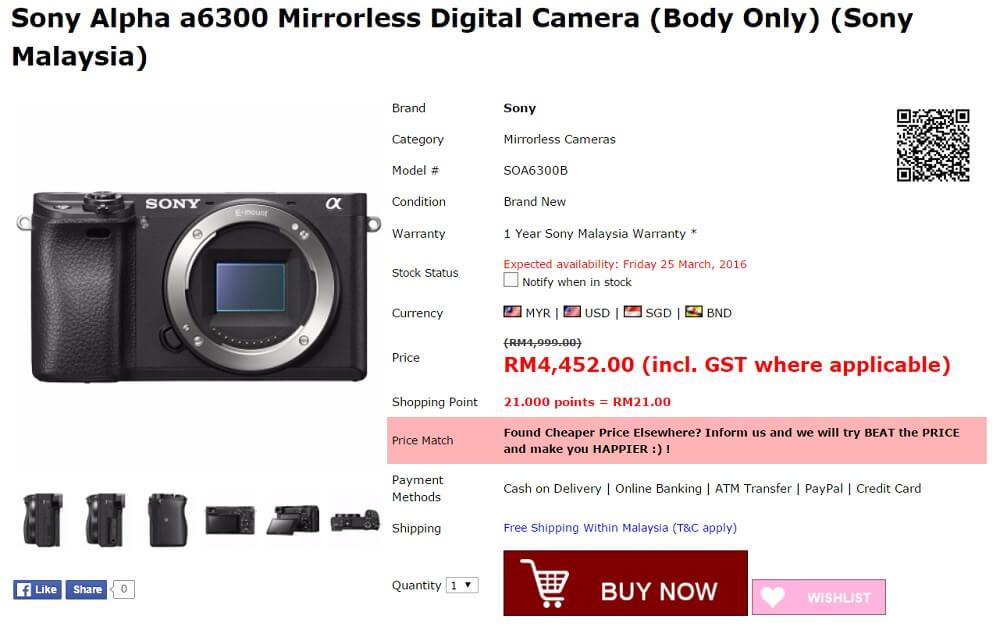 harga sony a6300 di malaysia