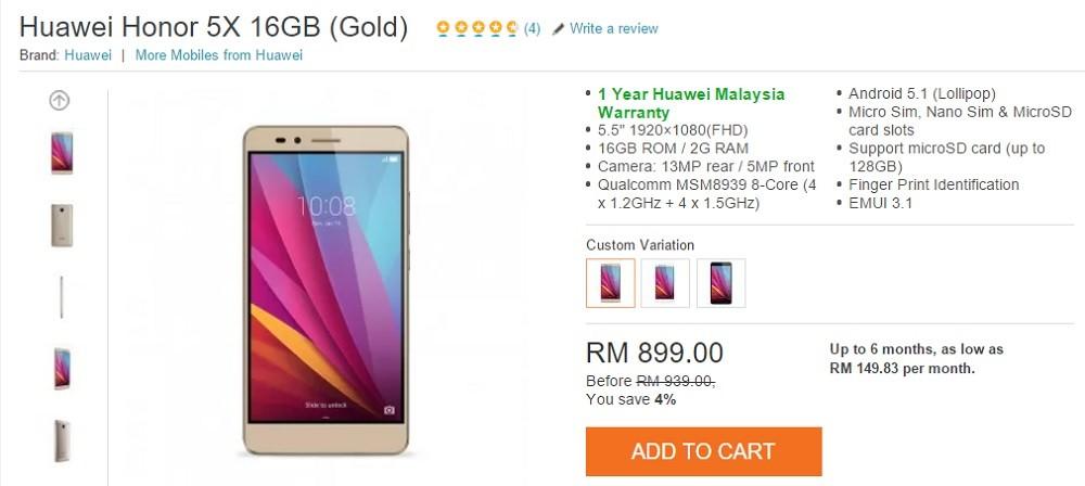 honor 5x gold malaysia