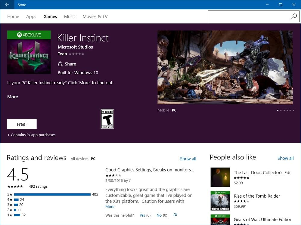 killer instinct windows 10