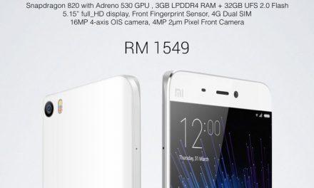 Xiaomi Mi5 Berharga RM1549, Dijual Bermula 18 Jun 2016