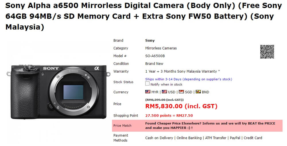 sony a6500 price malaysia