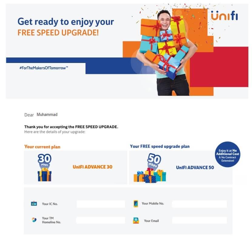 unifi free speed upgrade