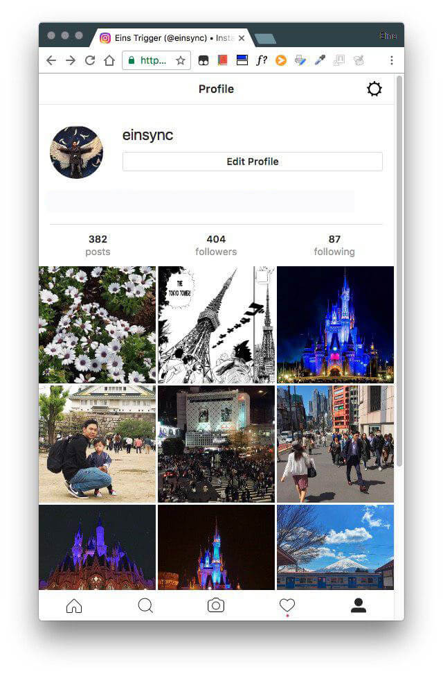 instagram mobile chrome upload