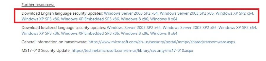 wannacry ransomware patch