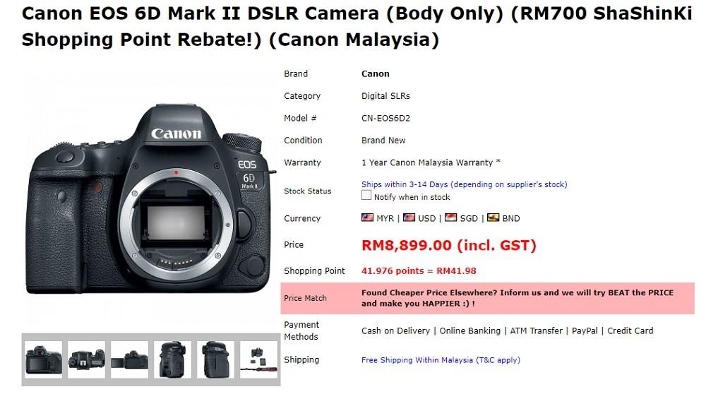 6d mark ii price malaysia