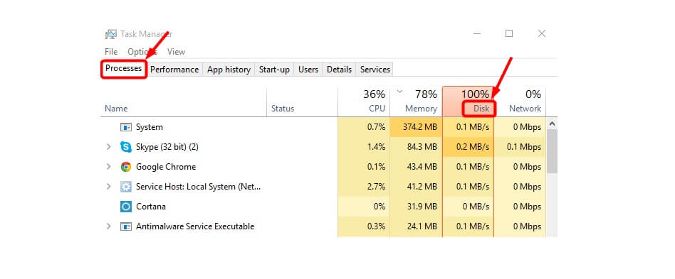 100% disk usage windows 10 fix