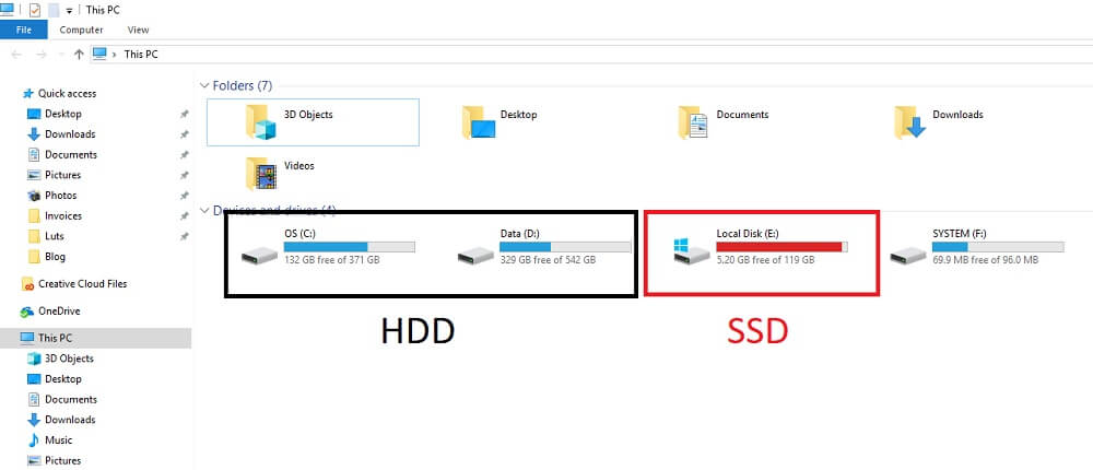 ssd hdd windows 10