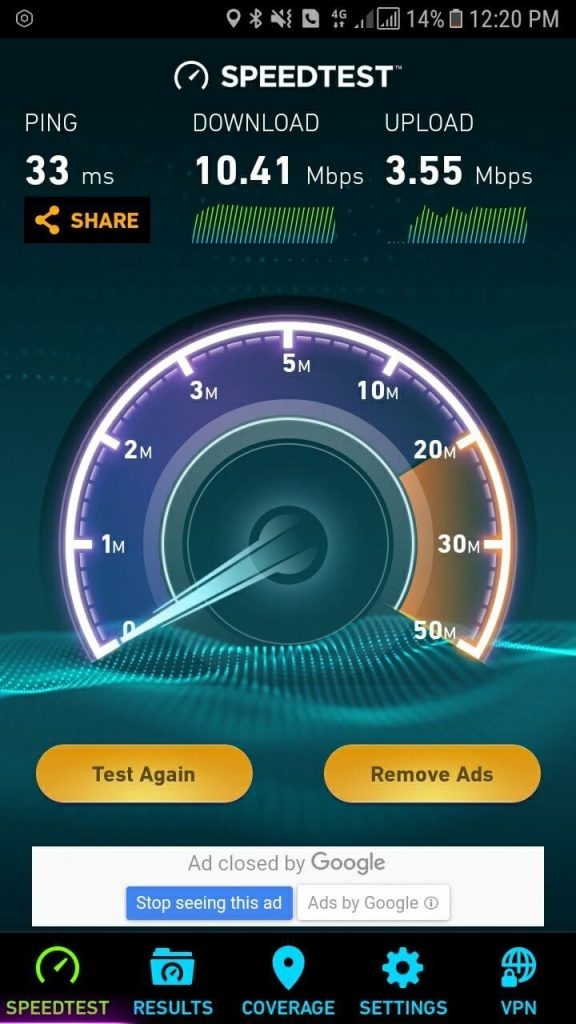 unifi mobile speedtest