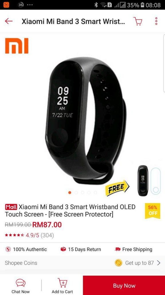 mi band 3 shopee