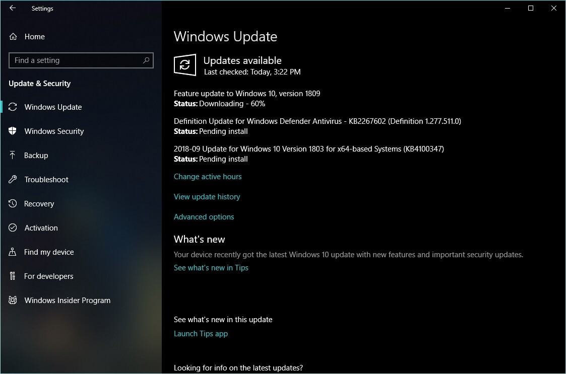 windows 10 1809 update