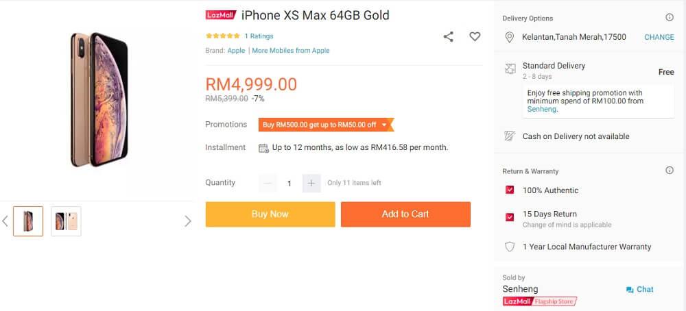 iphone xs max senheng promo