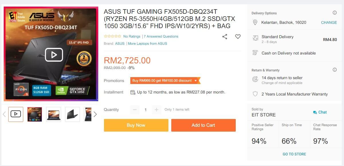 asus fx505dt ryzen gtx1050 malaysia