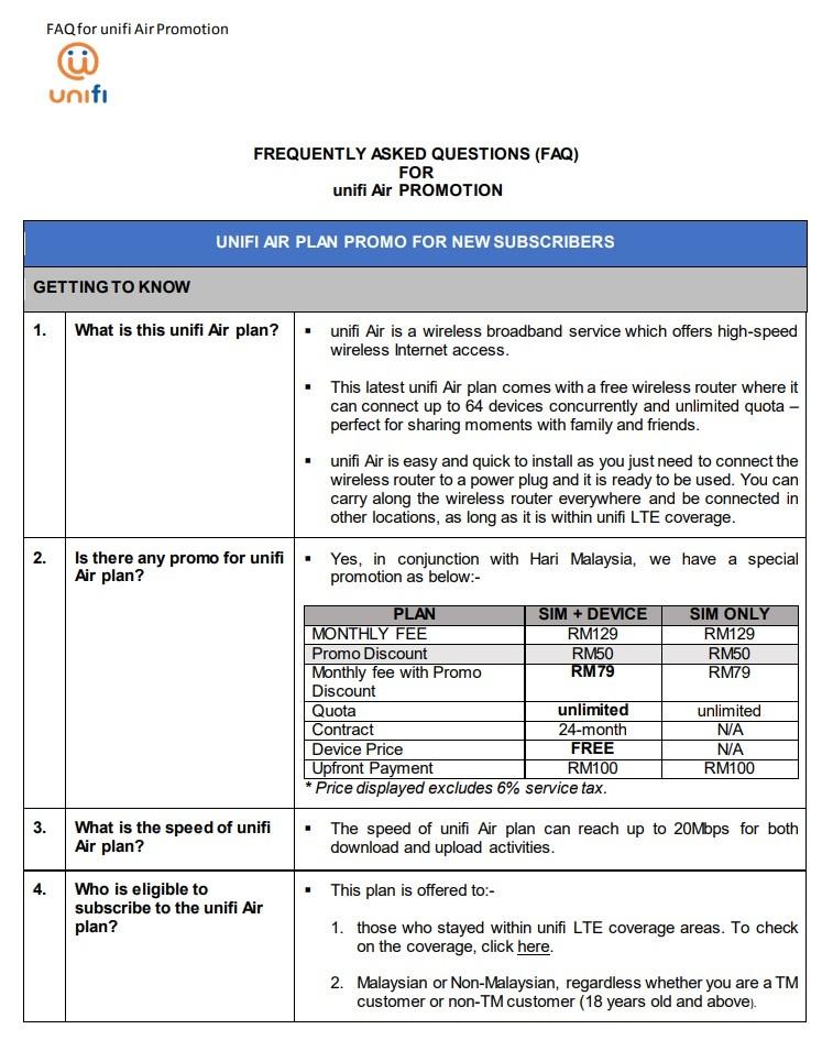 Unifi Air Promo - Harga RM79 Sebulan Untuk Semua Rakyat  Sempena Hari Malaysia