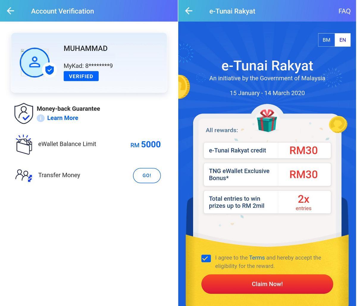 claim rm30 e-tunai rakyat tng ewallet