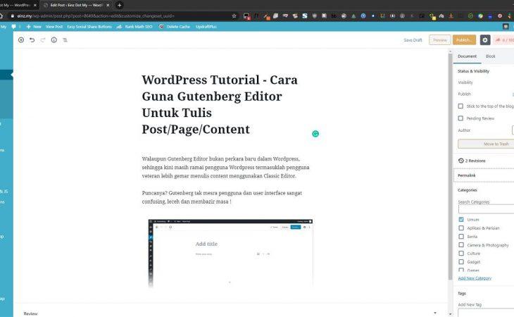 cara tulis blog guna gutenberg editor wordpress