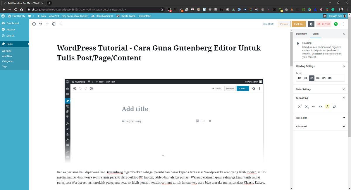 wordpress gutenberg tutorial bahasa melayu