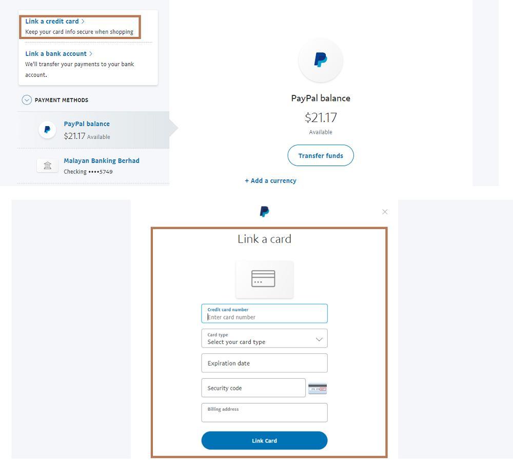 cara link debit card paypal malaysia