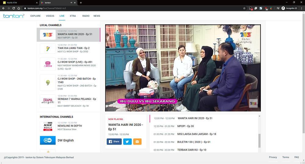 Tonton Saluran Online TV1, TV2, TV3, NTV7, 8TV, 501 Awani Dan Banyak Lagi Secara Percuma