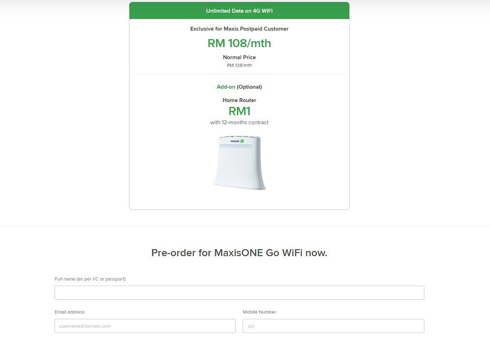 cara langgan maxis one go wifi unlimited data rm138